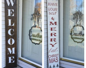 Two-Sided Welcome Sign and Christmas Sign 6 ft x 12 in
