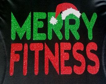 Merry Fitness Christmas running shirt - tech tank, cotton tee, women's cut v neck