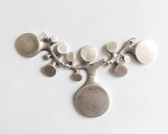 1 pc -Matte SEA Liken Silver Plated Base Necklace Bar- 130x65cm-(415-034SP)