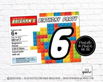 Building blocks Birthday Invitation // Party Invitation // Blocks Birthday Printables // Building Block Party // Blocks party