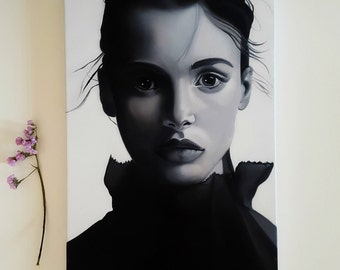 oil painting on canvas/black and white face