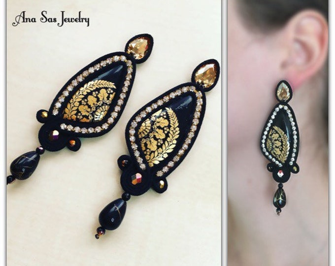 Black and gold soutache earrings, Swarovski handmade gold painted cabochon