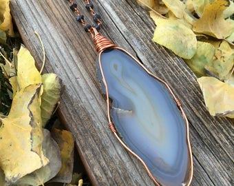 blue agate slice wire wrap pendant + handmade sodalite copper chain