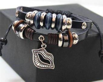 Women's Silver Lips Blue Leather Fashion Bracelet Gift-b79