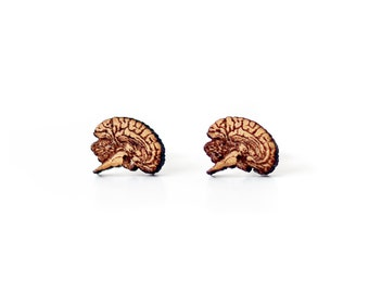 Disgusting earrings wood, human brain cut for a horrible halloween party , wear anatomy of the human brain