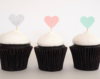 READY TO SHIP! Mini heart cupcake toppers   Teal pink and silver love heart toppers   Baby shower toppers   Engagement toppers