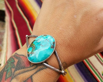 Vintage turquoise and sterling cuff bracelet