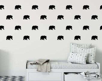 Bear Wall Decal - Bear Decal - Bear Home Decor Wall Sticker - Woodland Vinyl Wall Stickers - Vinyl Stickers - Bear Theme Room - Brown Bear