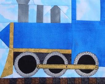 Steam train engine paper pieced PDF quilt pattern; baby boy's or child's quilt pattern; foundation paper pieced block; paper pieced train
