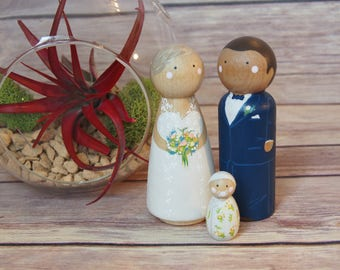 Custom Wedding Toppers with Child// bride and groom // custom wedding cake toppers // personalized wedding cake toppers