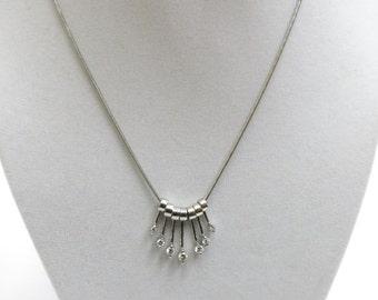 diamond necklace floating pendants white gold 14k