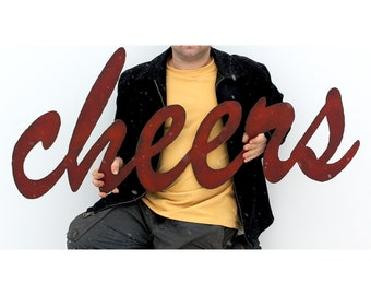 "cheers metal wall art bar sign - 48"" wide - red with rust patina - steel sign metal sign - choose from 28 colors"