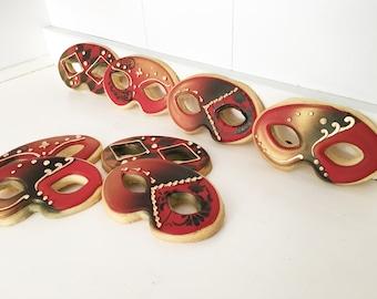 Masquerade Mardi Gras Mask Cookies - 1 Dozen