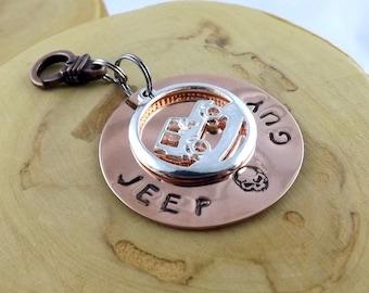 Jeep Guy skull hand stamped copper charm key fob keychain accessory OIIIIIIIO