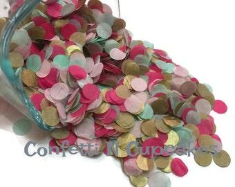 Aqua Gold and Pink Tissue paper confetti, baby shower decor, beach wedding decor, photo confetti, circle paper confetti, confetti toss, gold
