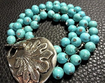 Generous Turquoise Howlite & Plated Silver Bracelet