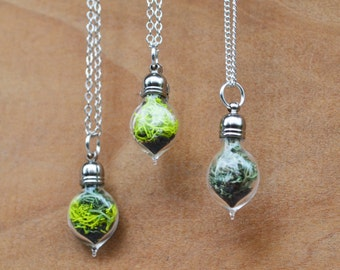 Terrarium Jewelry, Spring Jewelry, Moss Necklace, Plant Necklace, Moss Terrarium, Terrarium Necklace, Glass Vial Necklace, Mini Plant