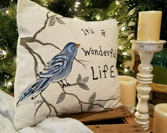 """It""""s a Wonderful Life, Bluebird, Nature, Tree, Holiday, Indoor/Outdoor, Pillows, Seasonal Decorations, Pillow Cover"""