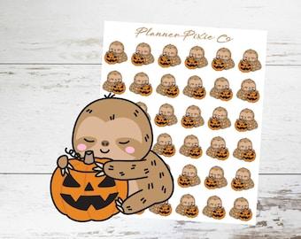 Sloth Planner Stickers // Halloween // Jack O Lantern // 072