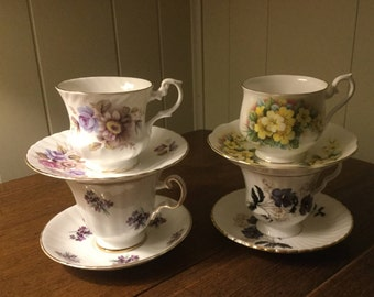 Royal Set of Fine Bone China Tea Coffee Cups and Saucers Floral