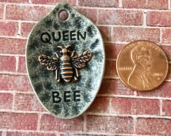 Queen BEE Gunmetal with Copper Bee Pendant Hammered Pewter Small Spoon Shaped
