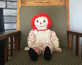 Large 24 inch handmade vintage Raggedy Ann fabric rag doll with embroidered face and heart for Farmhouse or nursery decor