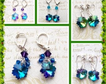 Snowflake Earrings - Crystle Snowflakes - Winter Earrings - Blue Earrings - Snowflake Jewelry - Purple Earrings - Dangle Earrings - Seasonal
