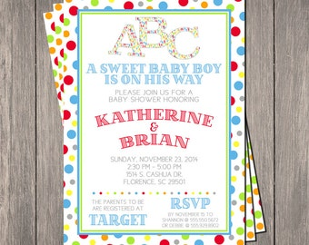 Alphabet Baby Shower Invitation | Printable OR Professionally Printed | 5x7 | Customized | ABC
