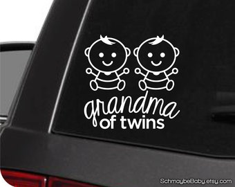 Grandma of Twins White Vinyl Car Decal - Baby Version - Twin Boys, Twin Girls, Boy Girl Twins