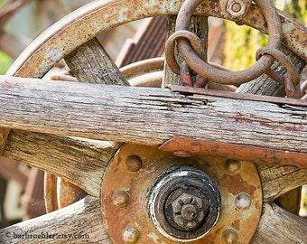 Old Wagon Wheel - Vintage Wall Art - Retro - 8x12 - Wood - Metal - Rust - Fine Art Photograph - Fpoe