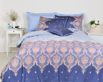 Damask Dorm Duvet Cover Set in Navy, Baby Blue, Single Twin Twin Xl, Cotton Sateen, Moroccan Style, Boho Bedding, For Dorm Room