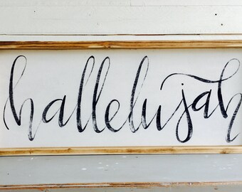 Hallelujah |  Large Rustic Sign | Home Decor | Mantle Sign | Gallery Wall