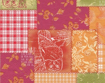 174 SILHOUETTE of OWL patterns 2 X 2 1 lunch size paper towel