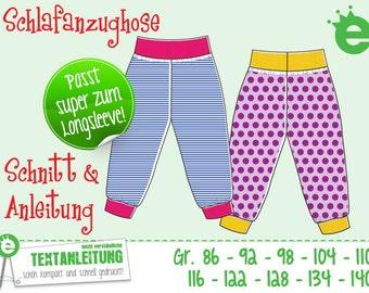 Schlafanzughose // Gr. 86-140 // ebook pdf Sofortdownload Schnitt und Nähanleitung