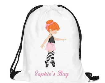 Personalized Ballet bag, Personalised drawstring bag, dance bag, swimming bag, school bag