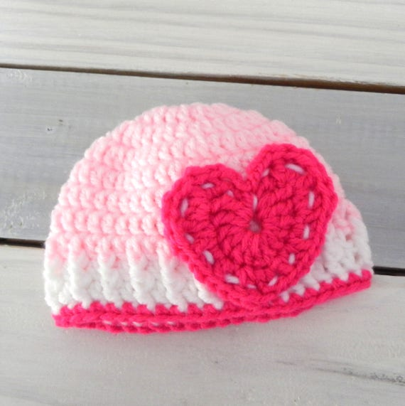 Valentine Crochet Baby Girl Hat, Heart, Newborn Beanie, Coming Home Hat, Baby Shower Gift, Newborn Hat, Photo Prop Hat, Baby Girl Hat