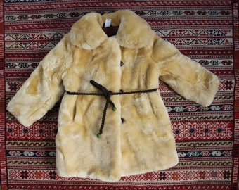 Soviet Kids Fur Coat, Size 110cm / 5 Year, Natural Sheep Fur Coat, Beige Color Winter Coat