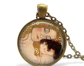 Mother and Child Gustav Klimt Mother Necklace Pendant Mother Keychain Art Noveau Necklace Art Pendant Mothers Day gift for Mom