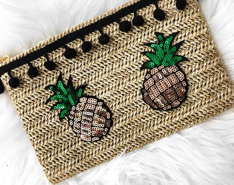 Aloha Pineapple Sequins Pompom Travel Straw Pouch Wristlet Beach Holiday Summer Vacay
