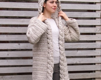 Hooded sweater coat etsy crochet pattern hooded cable women sweater braided cardigan bulky coat with hood very dt1010fo