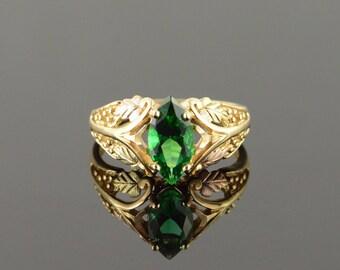 14k 1.50 CT Imitation Marquise Emerald Black Hills Filigree Ring Gold