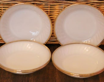 Six Beautiful Bowls Made By Anchor Hocking Fire King In White With Swirl Pattern And Gold Trim