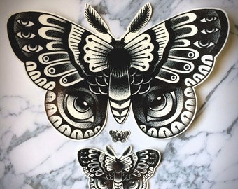 Moth Temporary Tattoos Temp Dotwork Dot Butterfly Bug Insect Large Huge Traditional Nature Black White Intricate Luna Polyphemus