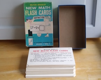 Vintage 1965 Math Subtraction Flash cards from Milton Bradley made in USA 1960s