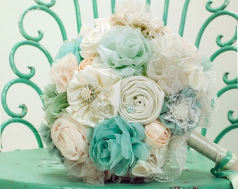 Mint ivory bridal bouquet, fabric wedding bouquet, turquoise bouquet, pastel bouquet, handmade bouquet