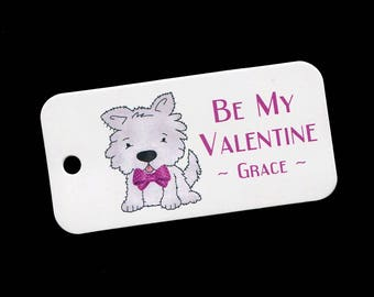 Valentine Tags - Personalized Valentines Day Tags - Puppy - Dog - Gift Tags - Classroom Party Tags - Tags for Valentine Gifts