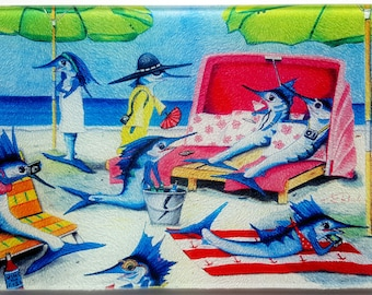Sailfish Cay Glass cutting board ladies fishing Serving Tray humorous vacation Beach