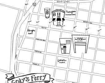 Grays Ferry Hand-Drawn Map Philadelphia 8x10