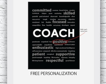 Coach Gift Ideas, Sports Coach Gift, Free Personalization, Coach Print, Coach Wall Art, Gift for Coach, Coach Digital Print, Coach Poster