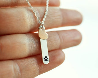 Paw print necklace Pet remembrance jewelry Sterling silver Rose gold Heart necklace Pet sympathy Pet memorial loss of pet loss of dog paw